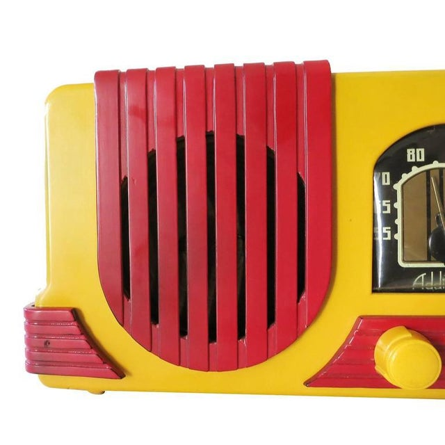 "Addison Model Two ""Waterfall"" Red and Mustard Catalin Tube Radio For Sale In Los Angeles - Image 6 of 9"