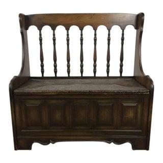 Wood & Rush Storage Bench
