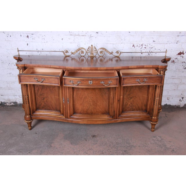 Karges French Louis XVI Style Walnut and Burl Wood Sideboard / Bar Cabinet For Sale - Image 9 of 13