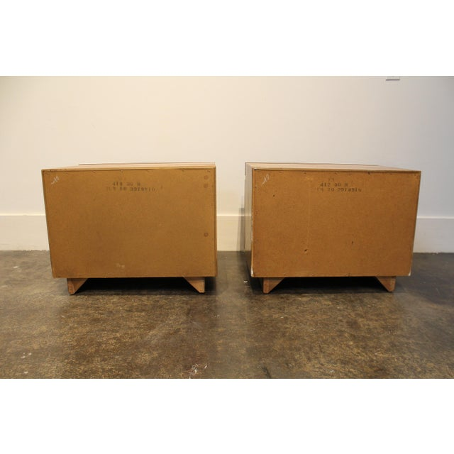 Wood Lane Furniture Milo Baughman Style Mid Century Modern Burl Wood Nightstands a Pair For Sale - Image 7 of 9