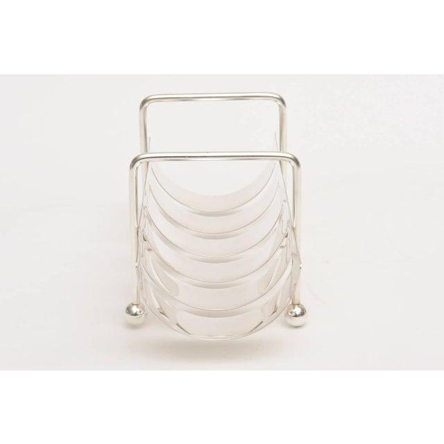 Italian Modernist Silver Plate Baguette Holder For Sale - Image 10 of 10