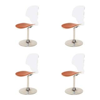 1980s Charles Hollis Jones Style Splashy Modern Lucite Chrome Dining Chairs - Set 4 For Sale
