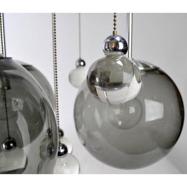 Metal Chrome Lightolier Flush Mount Bubble Chandelier For Sale - Image 7 of 8