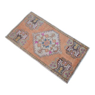 Distressed Low Pile Turkish Yastik Petite Rug Hand Knotted Faded Mat - 23'' X 35'' For Sale