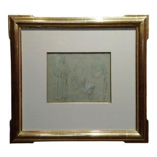 Leon Augustin Lhermitte -3 Women & a Child - Original Pencil Drawing -C1880s For Sale