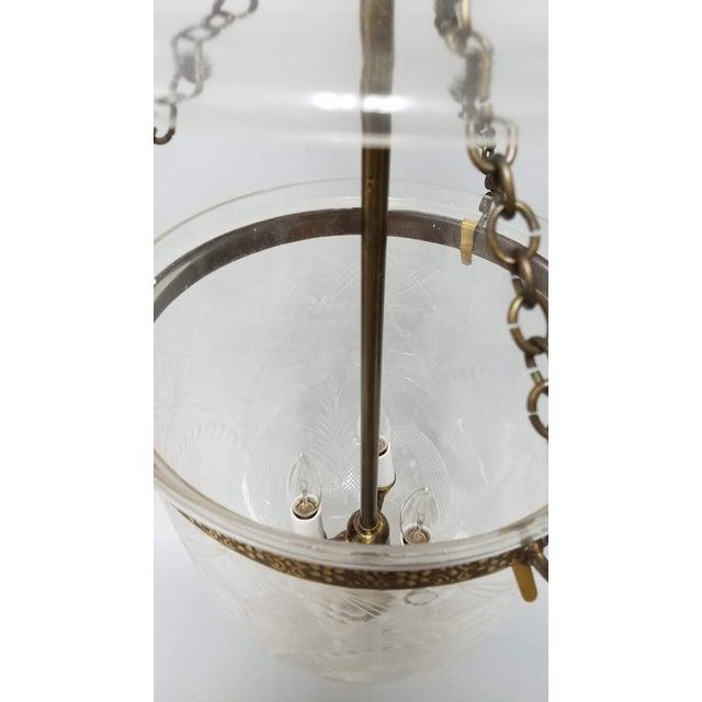 Etched Tulip Pattern Bell Jar Lantern For Sale - Image 4 of 11