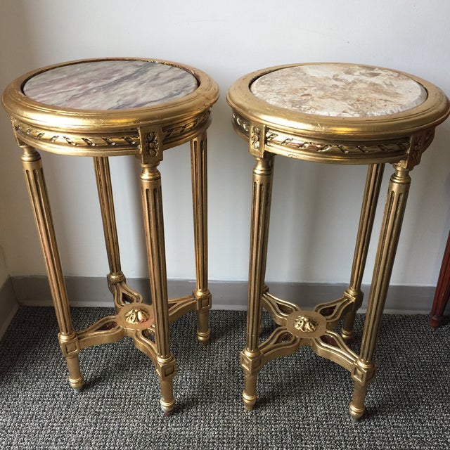 Neoclassical Style Gilt Side Tables - A Pair - Image 2 of 7