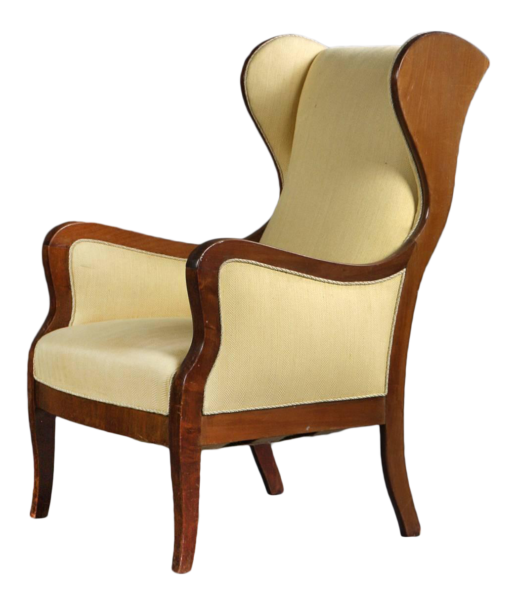 Wingback Chair In Mahogany And Wool By Frits Henningsen, Denmark 1940s For  Sale