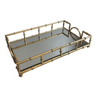 Two's Company Metal Faux Bamboo Frame Mirrored Glass Tray