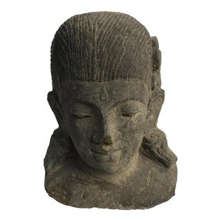 Early 20th Century Carved Volcanic Lava Stone Bust For Sale