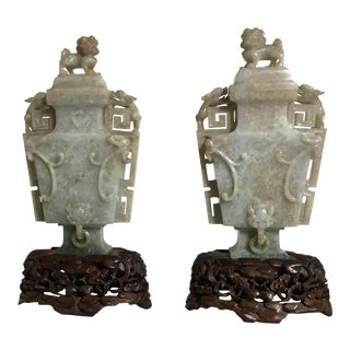 1920s Chinese Art Deco Jadeite Vases - a Pair For Sale