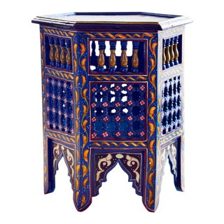 Moroccan Hand Painted Side Table For Sale
