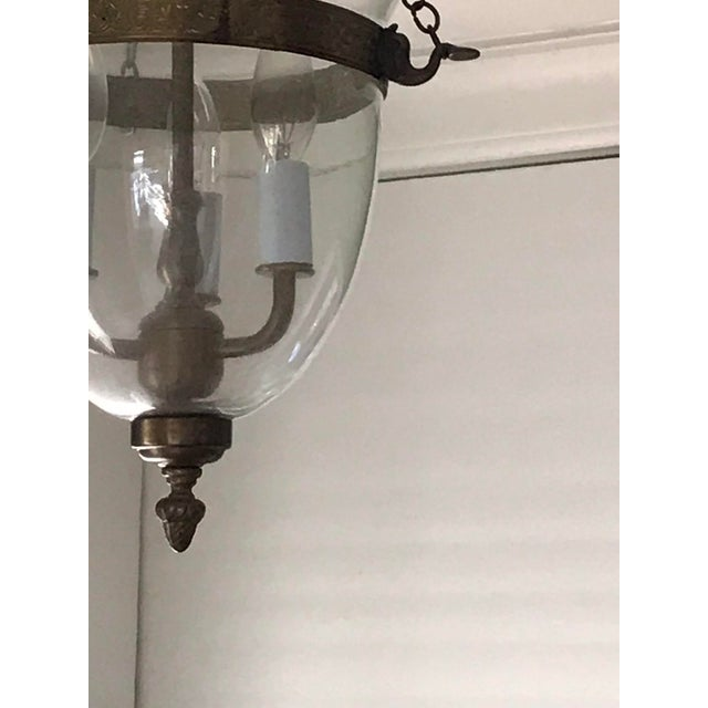 Set of 3, Clear Glass and Brass Bell Jar, Three Candle, Light Fixture For Sale - Image 11 of 12