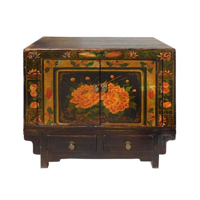 Oriental Black & Orange Floral Side Cabinet - Image 2 of 6