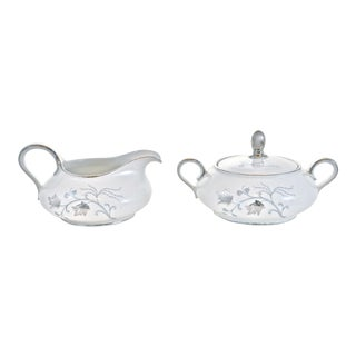 Blue & Silver Bavarian Creamer & Sugar - A Pair For Sale