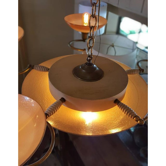 French Apricot Colored Glass Art Deco Chandelier with Five Arms and Eight Lights, circa 1940 For Sale - Image 4 of 5