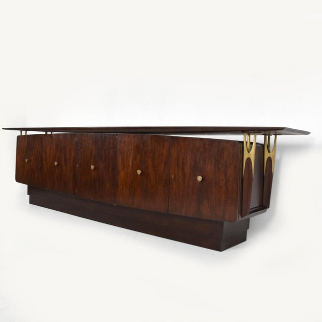 Mid Century Modern Solid Mahogany & Brass Credenza Attributed to Eugenio Escudero - Image 4 of 7