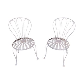 Vintage Pair Painted Pinwheel Iron Garden Chairs After Francois Carre For Sale