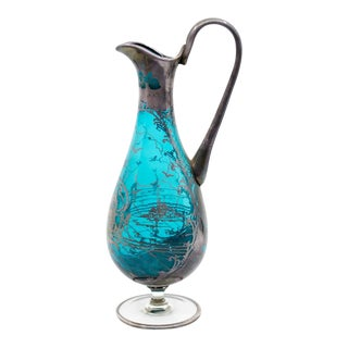 1920s Venetian Style Silver Overlay Glass Wine Decanter For Sale