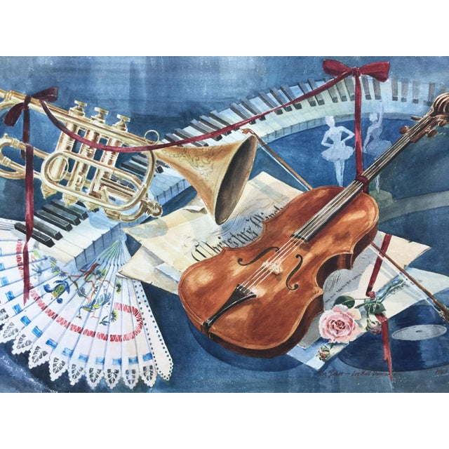 Vintage 1950's Watercolor Painting MusicViolin Trumpet Keyboards - Image 4 of 9