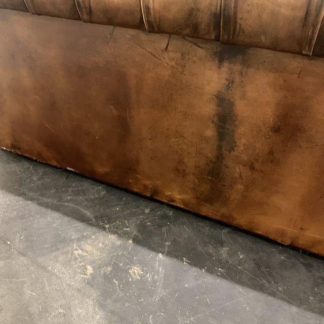 1980s Brown Leather Chesterfield Sofa For Sale - Image 11 of 13