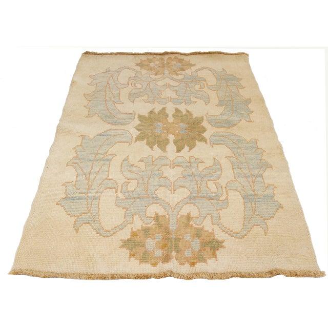 Modern Turkish Donegal Rug with Blue & Green Botanical Patterns DESCRIPTION: Modern handmade Turkish rug from high-quality...