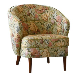 Danish Mid-Century Tub Chair in Floral Fabric For Sale