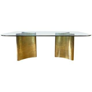 Mastercraft Trilobi Brass Pedestal Base Glass Dining Table, Early 1970s For Sale
