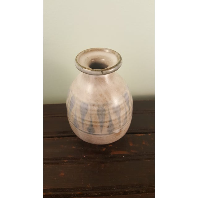 Late 20th Century Blue and White Glazed Studio Pottery Vase For Sale - Image 5 of 5