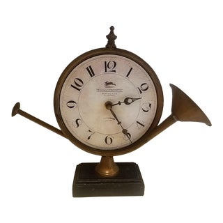 French Brass Horn Desk Clock For Sale
