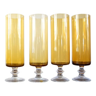 60s Bohemian Gold & Clear Pedestal Cocktail Glasses - Set of 4