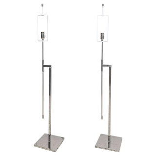 Adjustable Nickel-Plated Floor Lamps by Hansen - a Pair For Sale