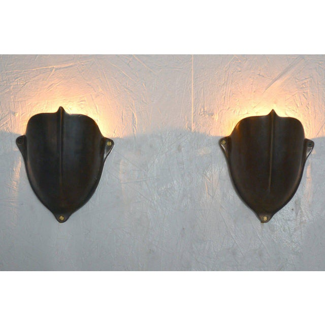 Pair of Brass Shield Shaped Wall Sconces For Sale In San Diego - Image 6 of 7