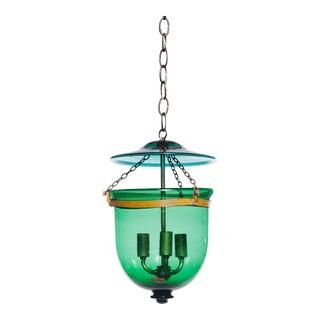 Vintage Green Glass Bell Jar Pendant Light For Sale