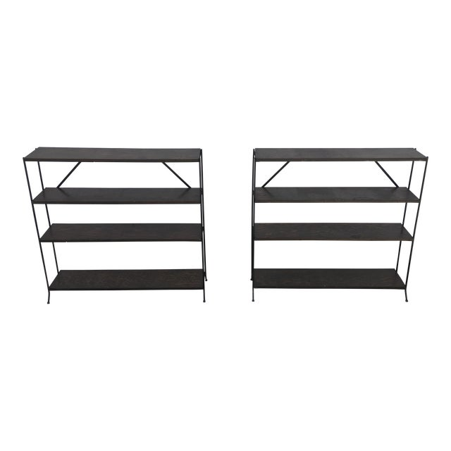 1950s Modern Style Iron & Wood Shelves - a Pair For Sale
