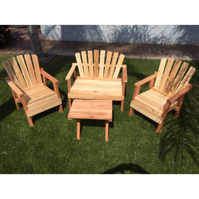 Natural Redwood Patio Set - Set of 4 - Image 3 of 11