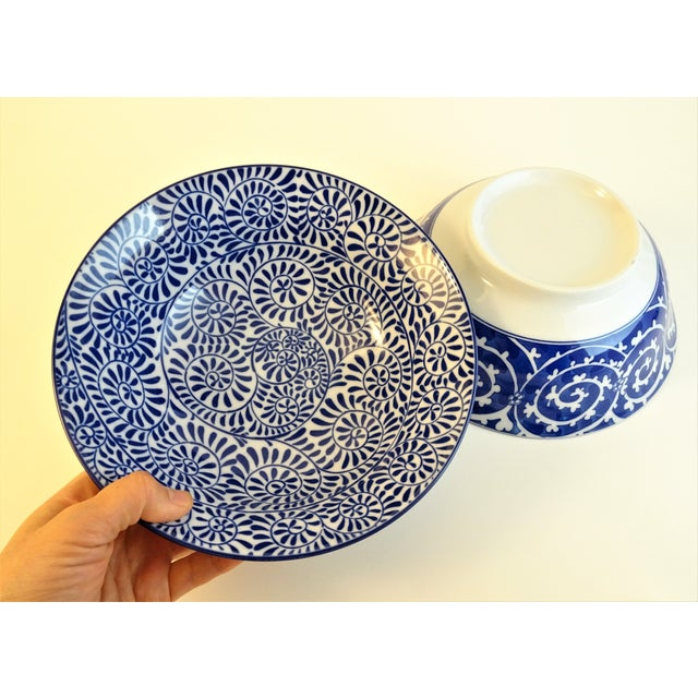 White Chinoiserie Blue & White Serving Bowls - A Pair For Sale - Image 8 of 11