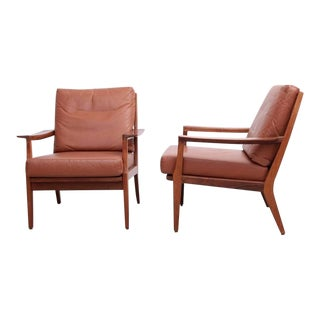 Pair of Danish Wood Lounge Chairs in Leather and Cane For Sale