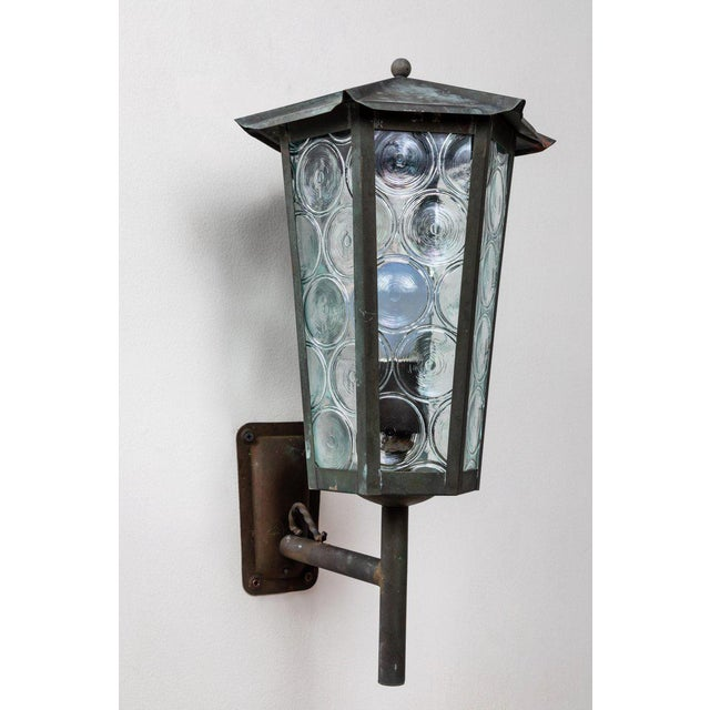 1950s Large Scandinavian Outdoor Wall Lights in Patinated Copper and Glass For Sale - Image 11 of 11