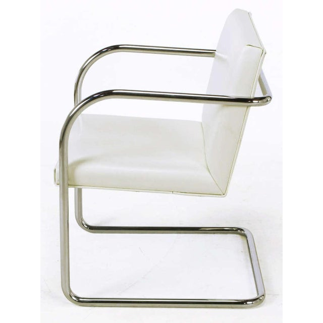 Four Thonet White & Chrome Cantilever Dining Chairs - Image 5 of 9