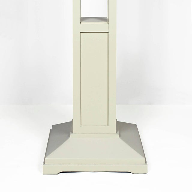 1910s Pair of Cubist Art Nouveau Stands, Ivory lacquered Oak, France For Sale - Image 4 of 7