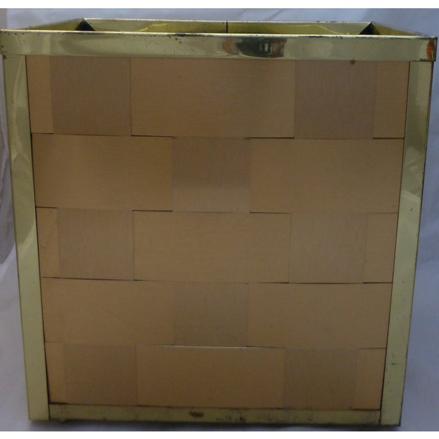 Retro Gold Toned Waste Basket and Tissue Cover - Image 3 of 11