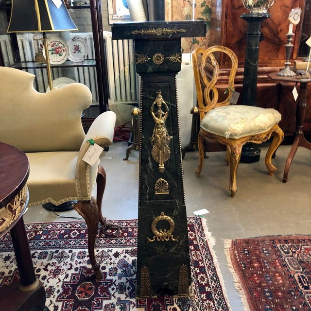 19th Century French Green Marble and Bronze Ormolu Applique Pedestal For Sale - Image 12 of 12