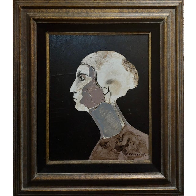 """Mercado -Surreal portrait of a Woman -Oil painting 1968 frame size 26 x 31"""" canvas size 15 x 20"""" oil painting on canvas..."""