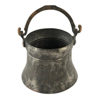 Hand-Hammered and Tinned Vintage Copper Pail For Sale