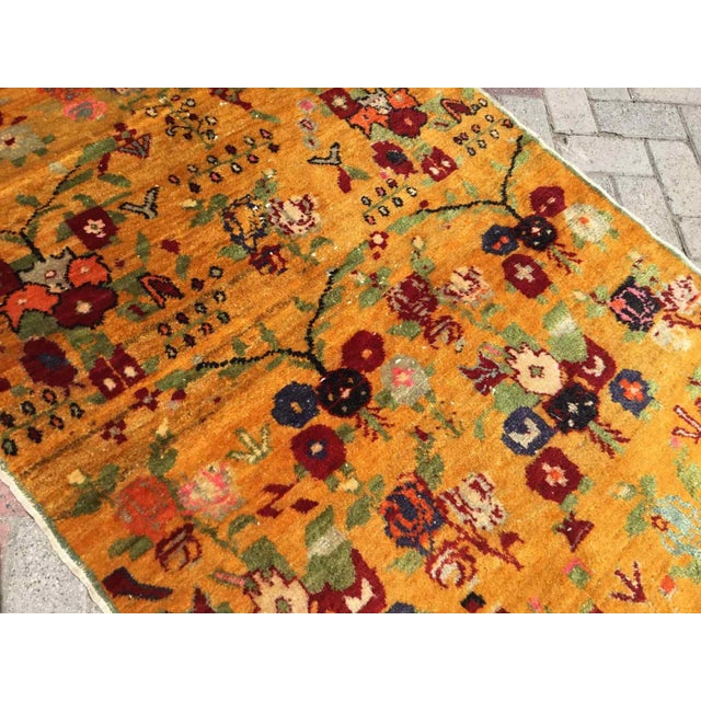 Orange Vintage Hand Knotted Turkish Rug For Sale - Image 9 of 11