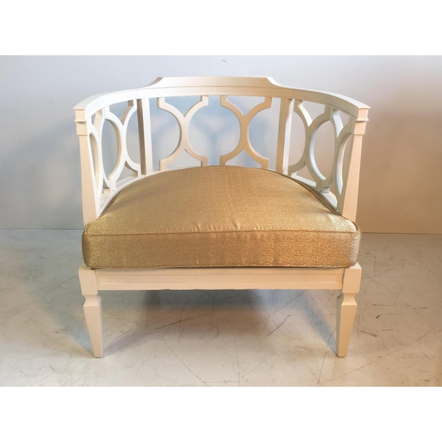 French Country Hollywood Regency Occasional Boudoir Chair For Sale - Image 3 of 6