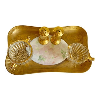 French Provincial Set of Five Gold Leaf Serving Accents For Sale