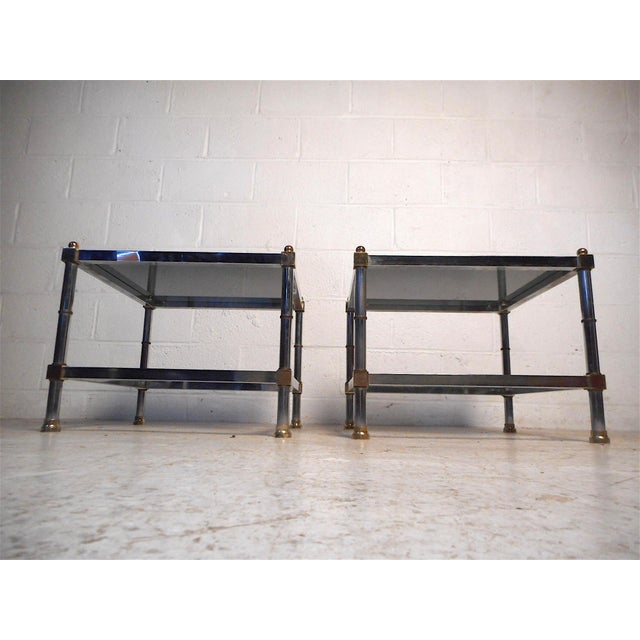 1960s Pair of Hollywood Regency Side Tables For Sale - Image 5 of 11