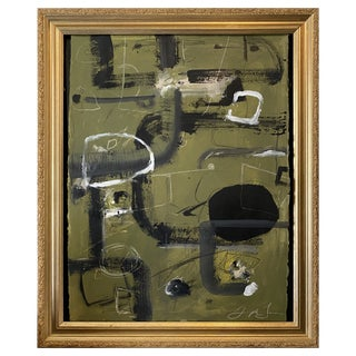 """Tennis Court"" Contemporary Painting by Joe Turner in Antique Frame For Sale"